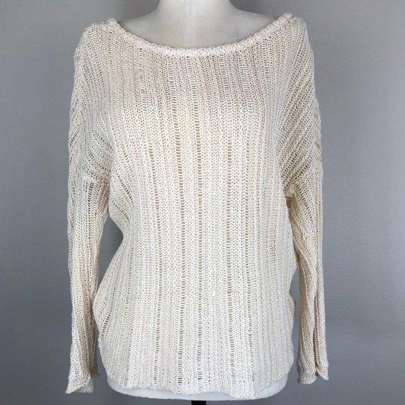 NSF Open Knit 100% Linen Wide Neck Sweater